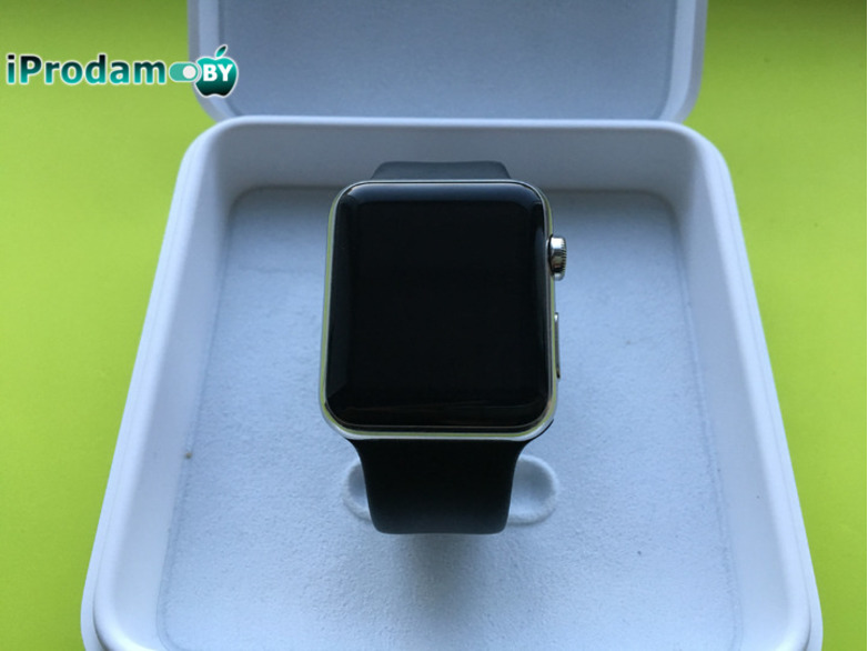 Apple Watch 42 mm Stainless Steel with Black Sport Band